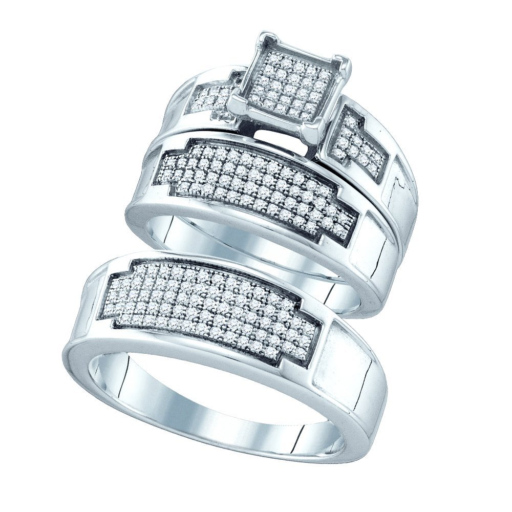 Genuine 0.50 CTW Diamond Trio Set Ring White Rhodium