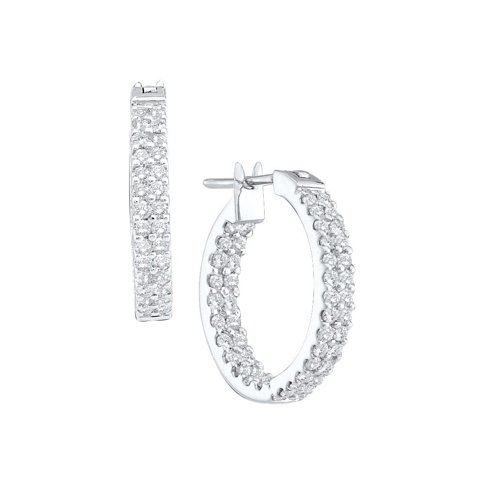 Genuine 1 CTW Diamond Hoop Earrings 10KT White Gold -