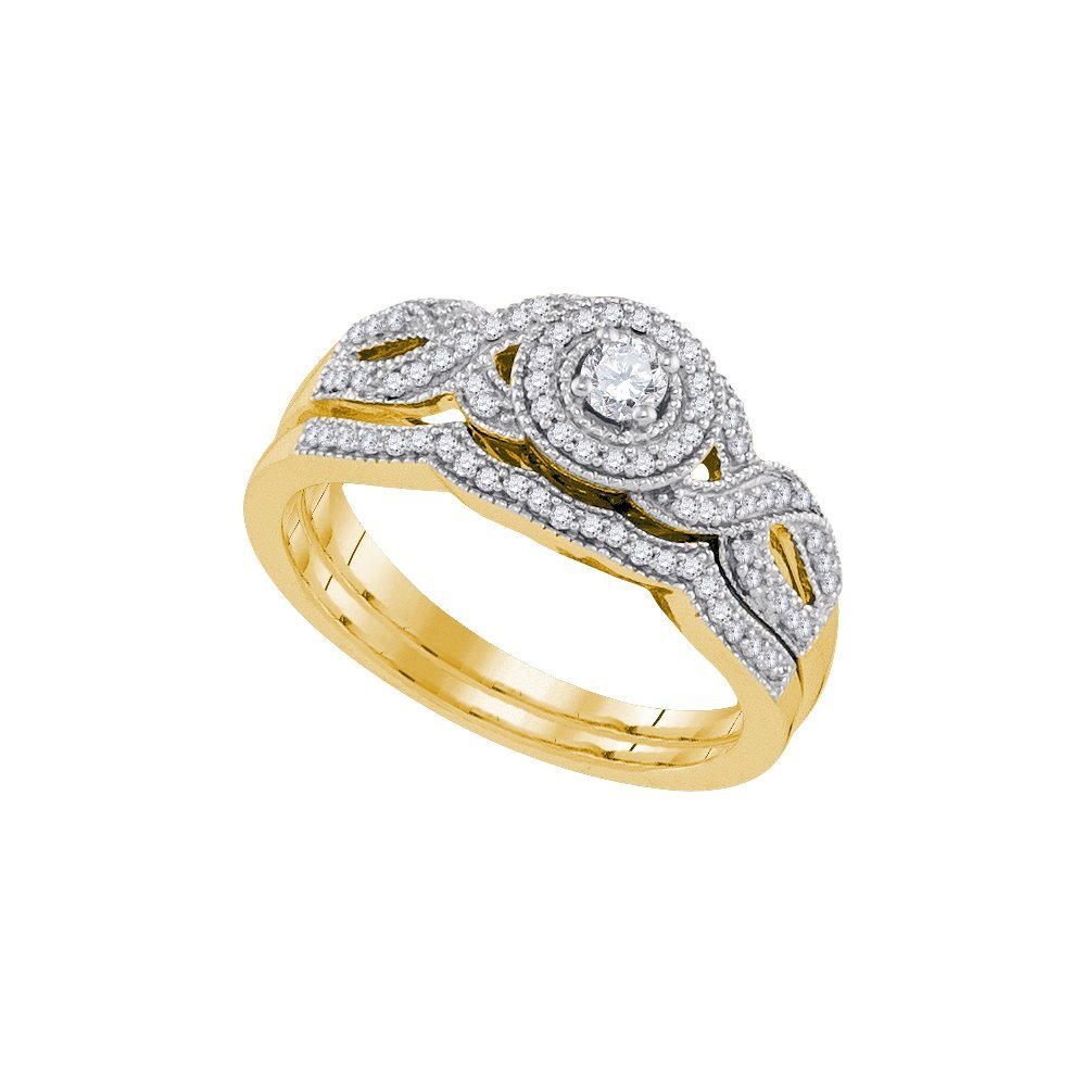 Natural 0.33 ctw Diamond Bridal Set Ring 10K Yellow