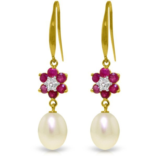 Genuine 9.01 ctw Ruby, Pearl & Diamond Earrings Jewelry