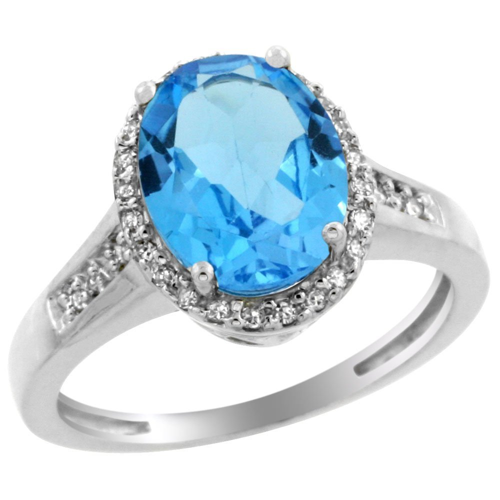 Natural 2.49 ctw Swiss-blue-topaz & Diamond Engagement