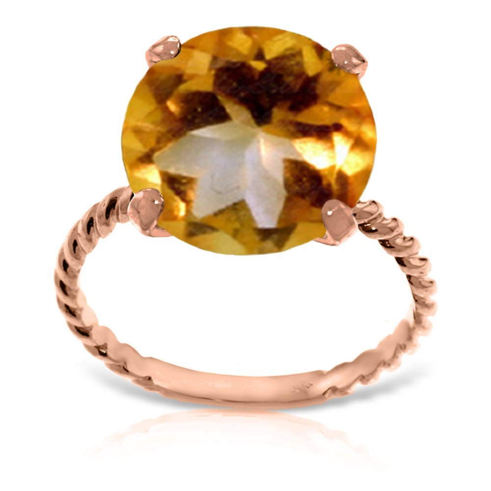 Genuine 5.5 ctw Citrine Ring Jewelry 14KT Rose Gold -