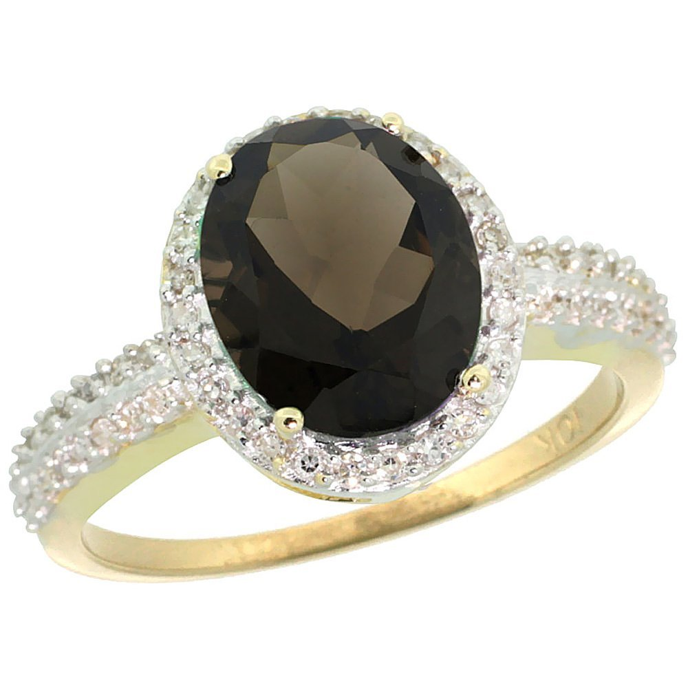 Natural 2.56 ctw Smoky-topaz & Diamond Engagement Ring