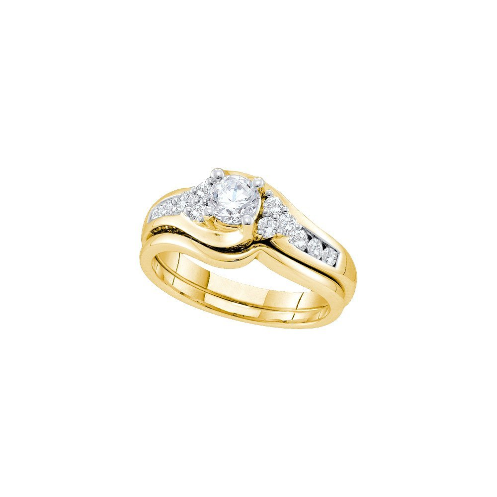 Natural 0.88 ctw Diamond Bridal Set Ring 14K Yellow