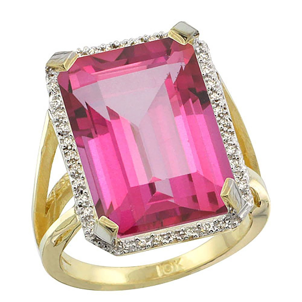 Natural 13.72 ctw Pink-topaz & Diamond Engagement Ring