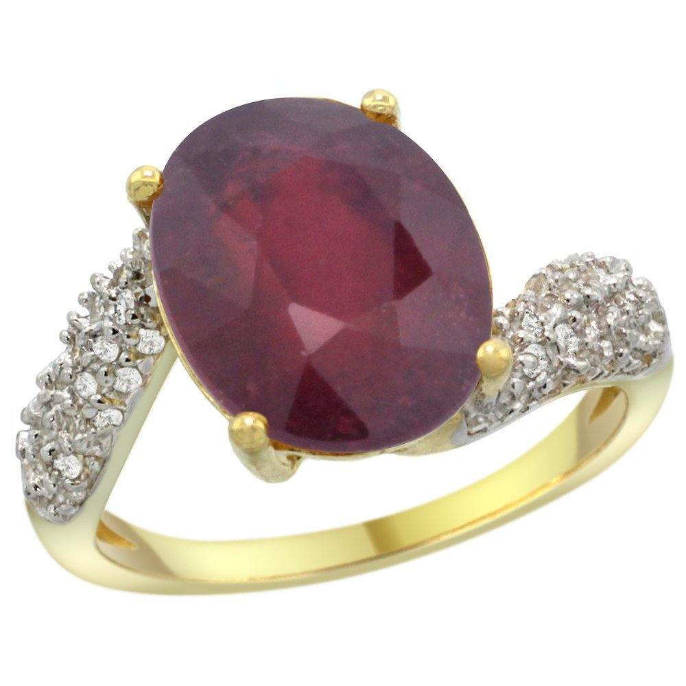 Natural 5.65 ctw ruby & Diamond Engagement Ring 14K