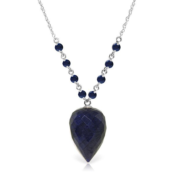 Genuine 14 ctw Sapphire Necklace Jewelry 14KT White