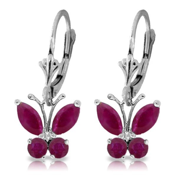 Genuine 1.24 ctw Ruby Earrings Jewelry 14KT White Gold