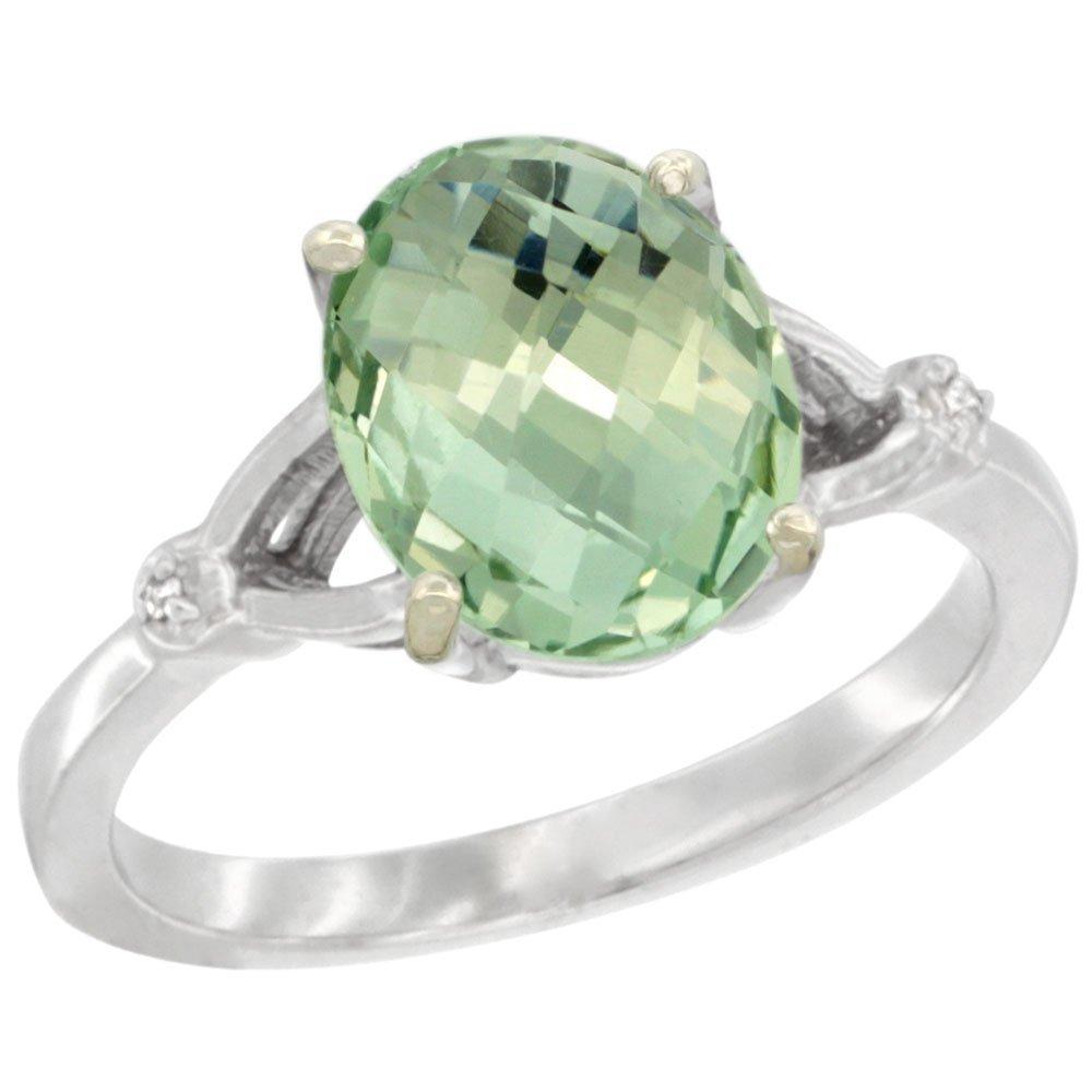 Natural 2.41 ctw Green-amethyst & Diamond Engagement
