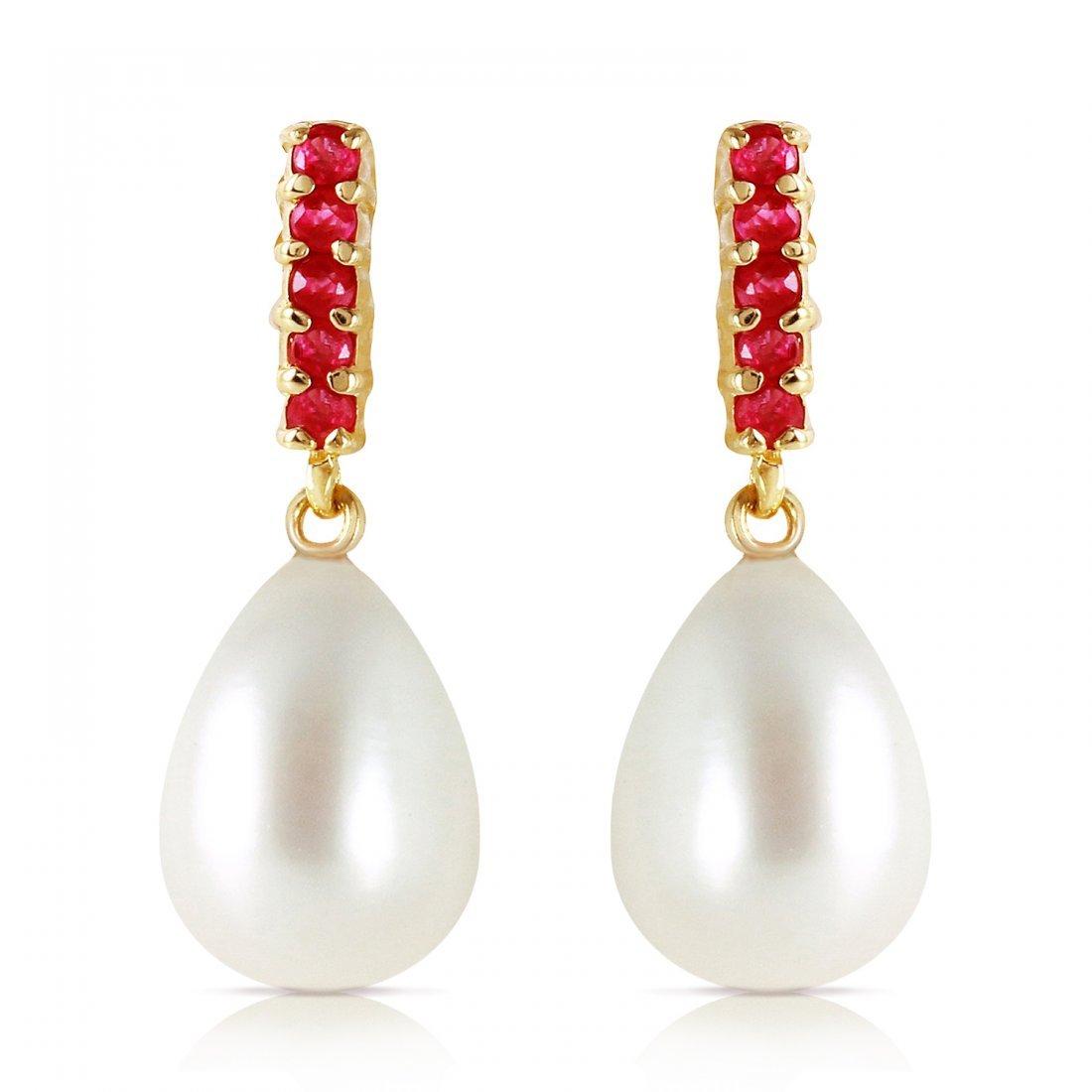 Genuine 8.4 ctw Pearl & Ruby Earrings Jewelry 14KT