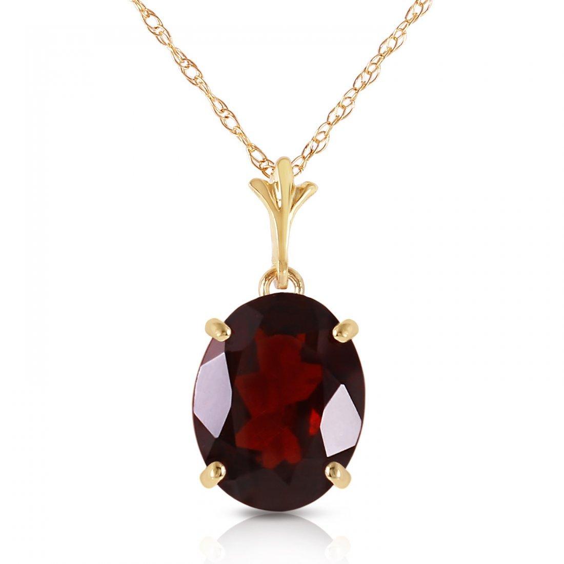 Genuine 3.12 ctw Garnet Necklace Jewelry 14KT Yellow
