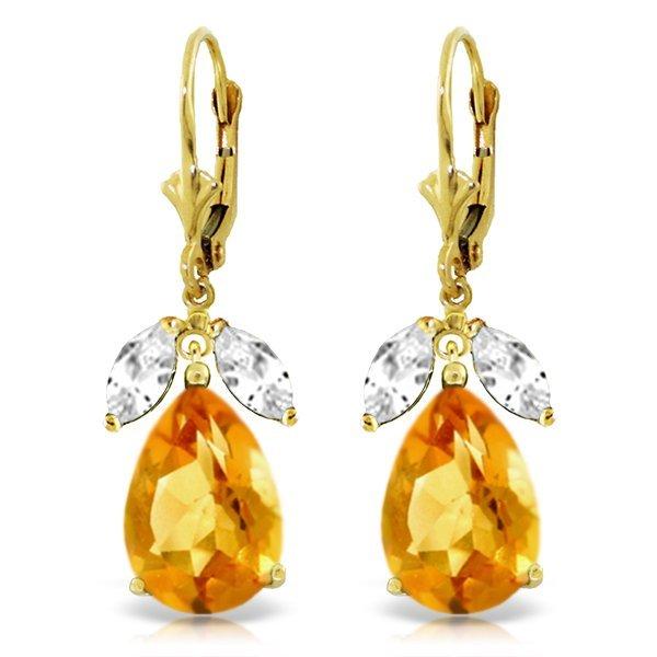 Genuine 13 ctw Citrine & White Topaz Earrings Jewelry