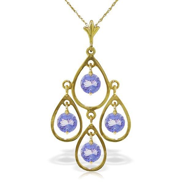 Genuine 1.20 ctw Tanzanite Necklace Jewelry 14KT Yellow
