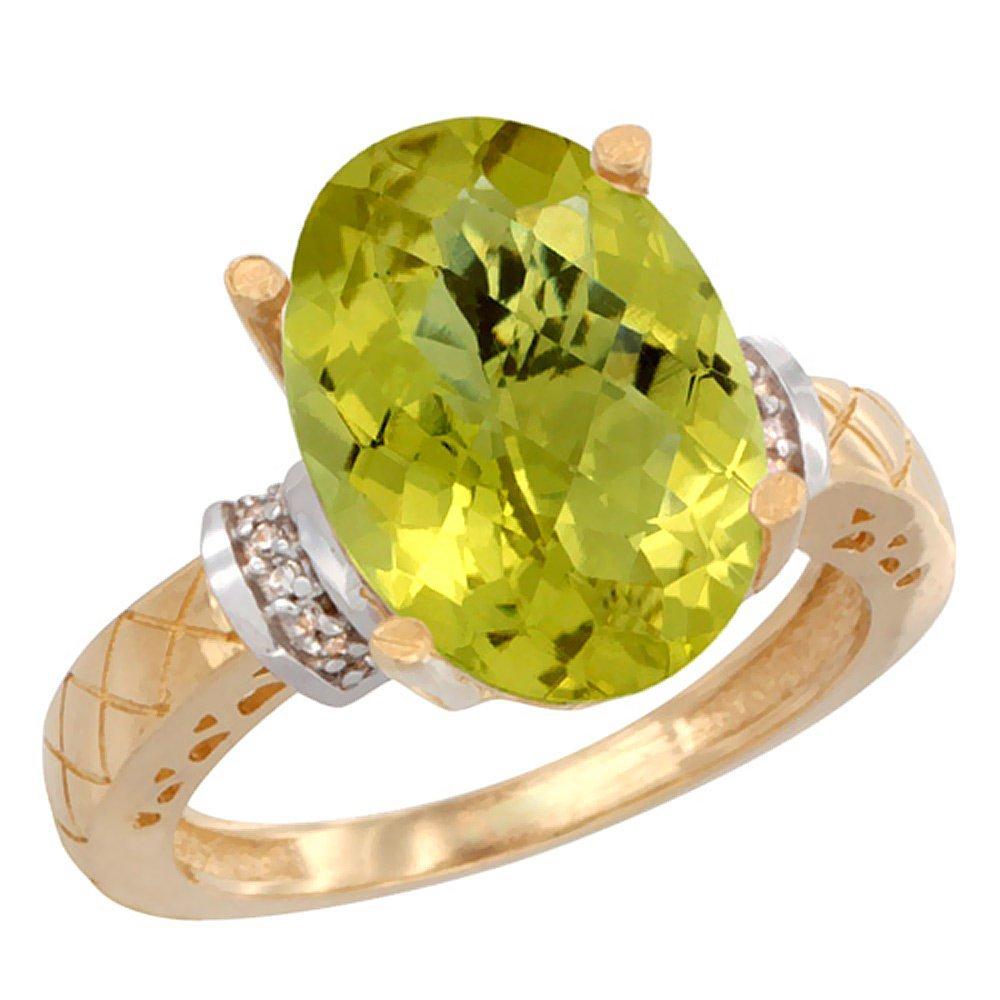 Natural 5.53 ctw Lemon-quartz & Diamond Engagement Ring