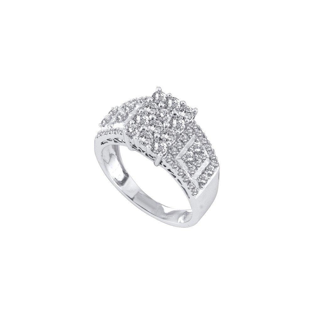 Genuine 1 CTW Diamond Ladies Ring 14KT White Gold -