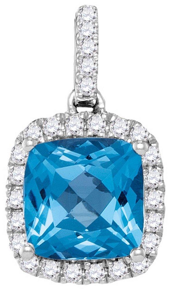 Genuine 1.70 CTW Blue Topaz & Diamond Pendant 14KT