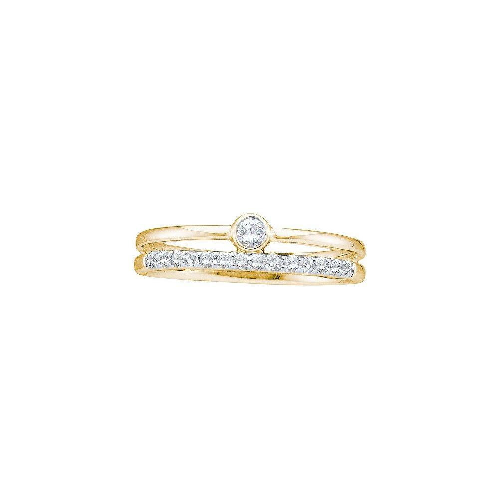 Natural 0.20 ctw Diamond Bridal Ring 14K Yellow Gold -