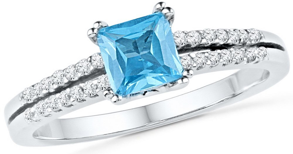 Genuine 0.65 CTW Blue Topaz & Diamond Ladies Ring 10KT