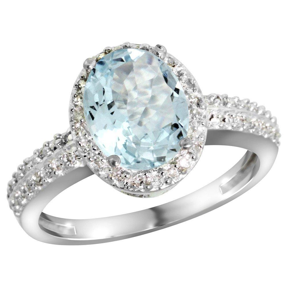 Natural 1.57 ctw Aquamarine & Diamond Engagement Ring