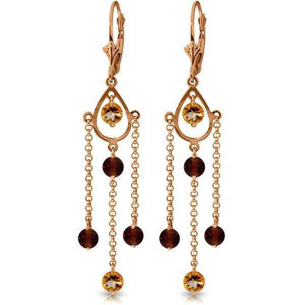 Genuine 3 ctw Citrine & Garnet Earrings Jewelry 14KT