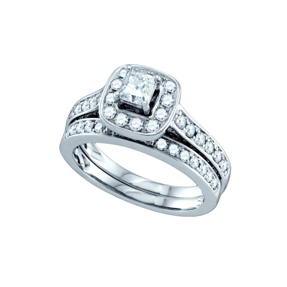 Genuine 2.01 CTW Diamond Bridal Set Ring 14KT White