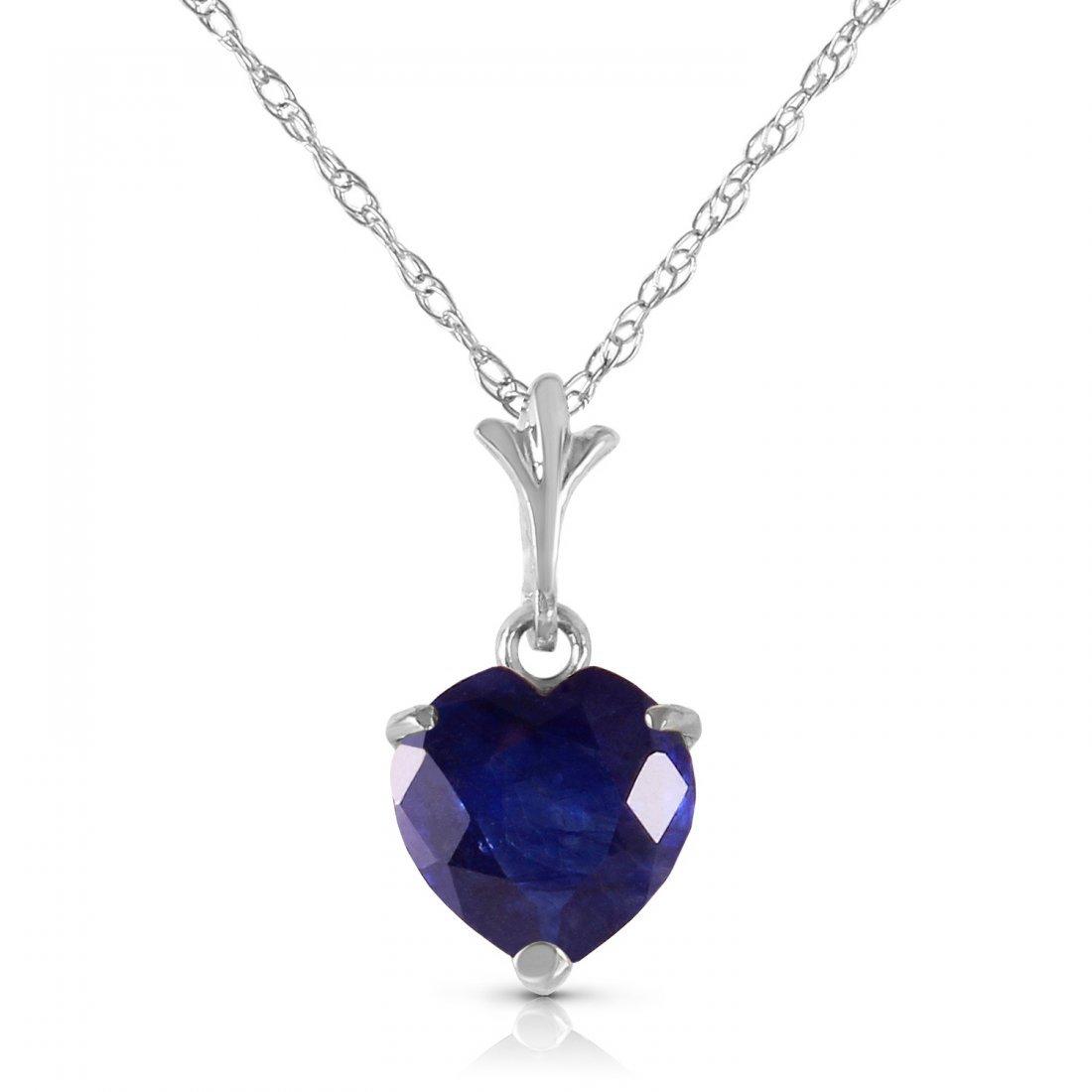Genuine 1.55 ctw Sapphire Necklace Jewelry 14KT White