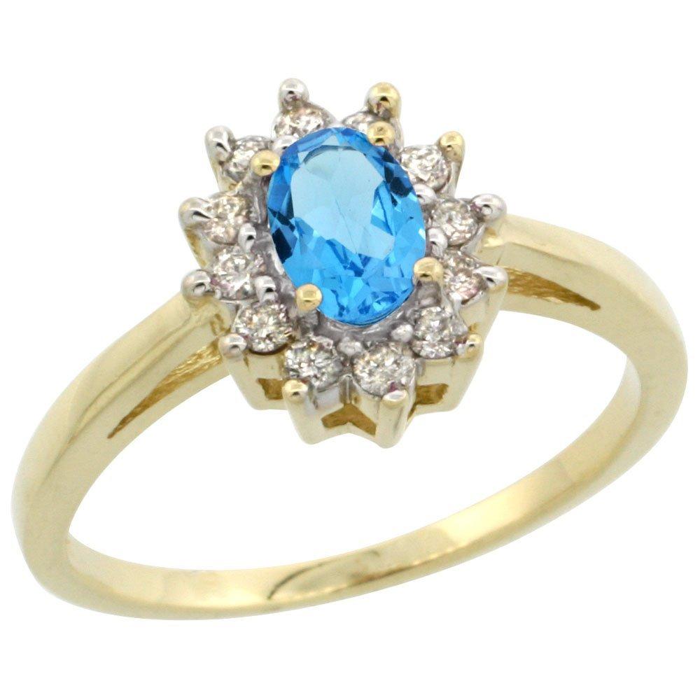 Natural 0.67 ctw Swiss-blue-topaz & Diamond Engagement