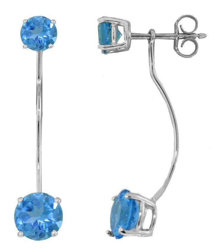 Genuine 4.3 ctw Blue Topaz Earrings Jewelry 14KT White