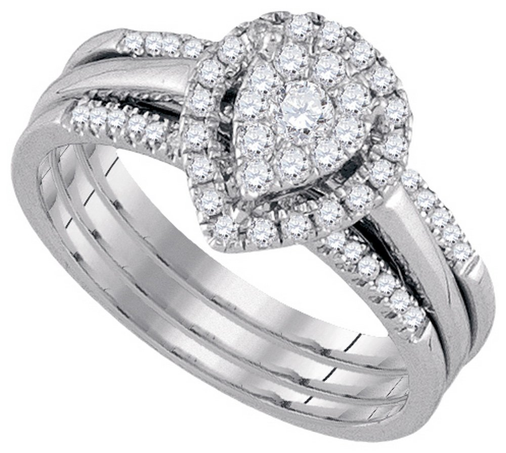 Natural 0.50 ctw Diamond Bridal Set Ring 10K White Gold