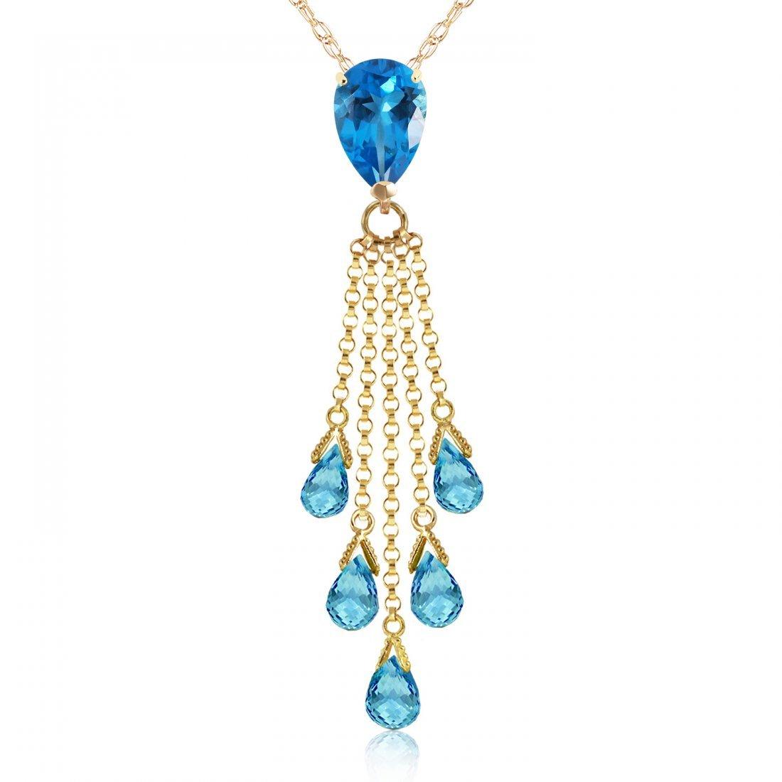 Genuine 7.5 ctw Blue Topaz Necklace Jewelry 14KT Yellow