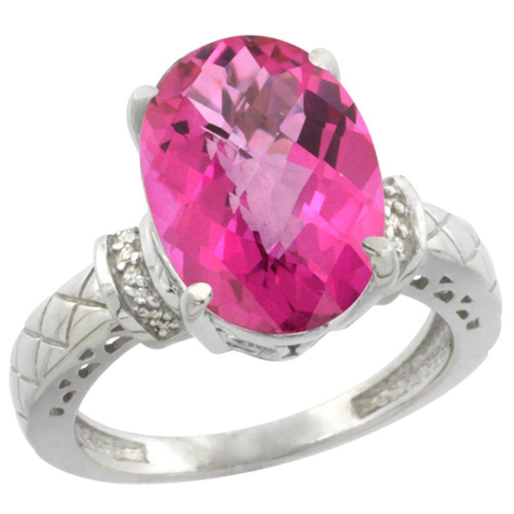 Natural 5.53 ctw Pink-topaz & Diamond Engagement Ring
