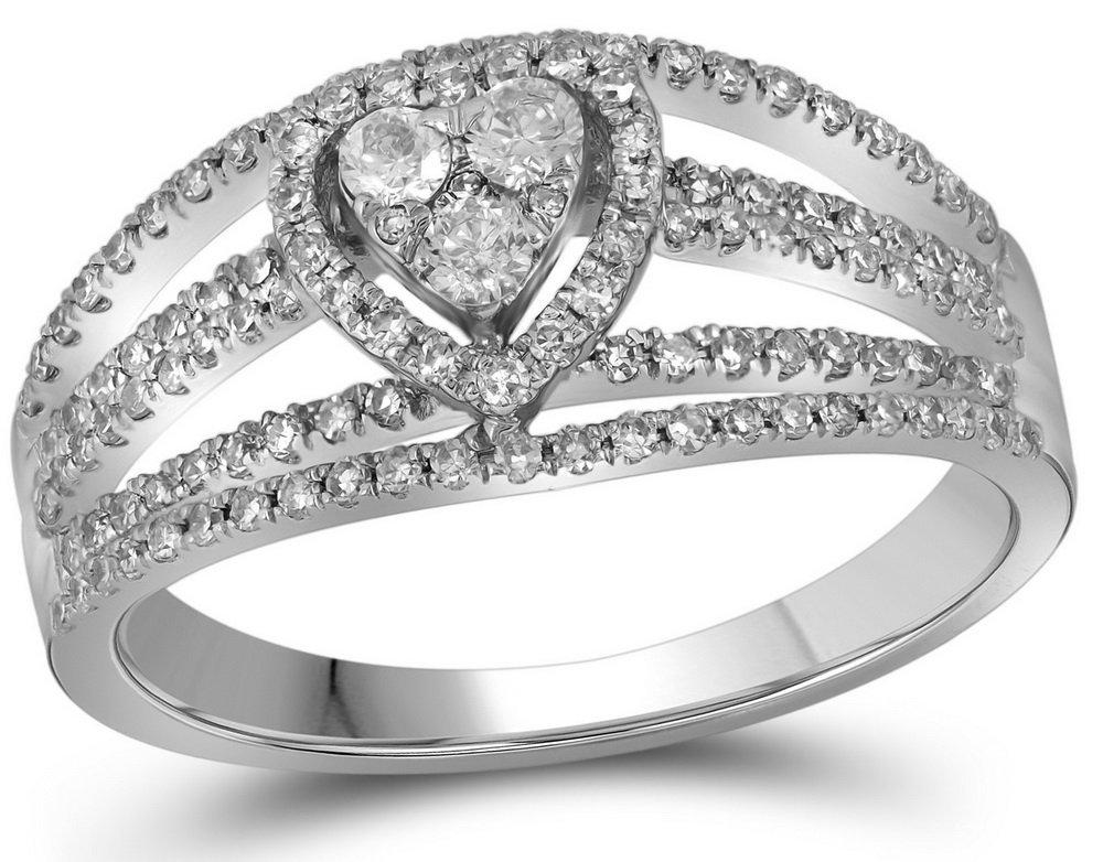 Genuine 0.50 CTW Diamond Bridal Ring 10KT White Gold -
