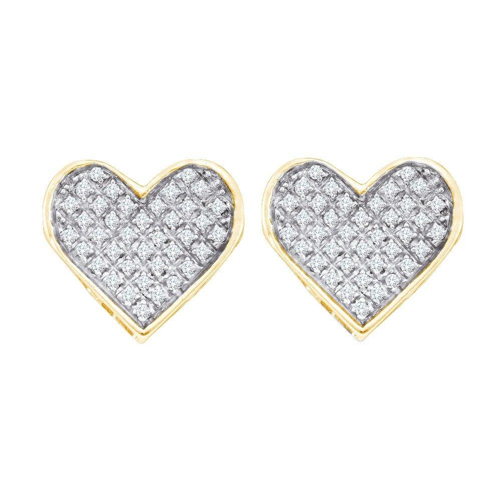 Genuine 0.25 CTW Diamond Earrings Yellow Rhodium Silver