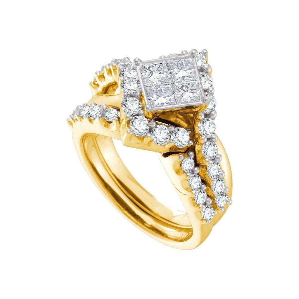 Natural 2.0 ctw Diamond Bridal Set Ring 14K Yellow Gold