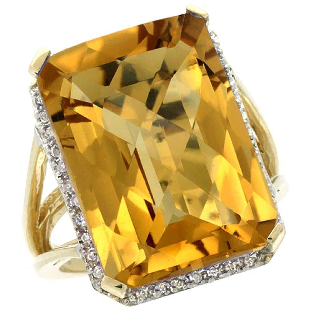 Natural 15.06 ctw Whisky-quartz & Diamond Engagement