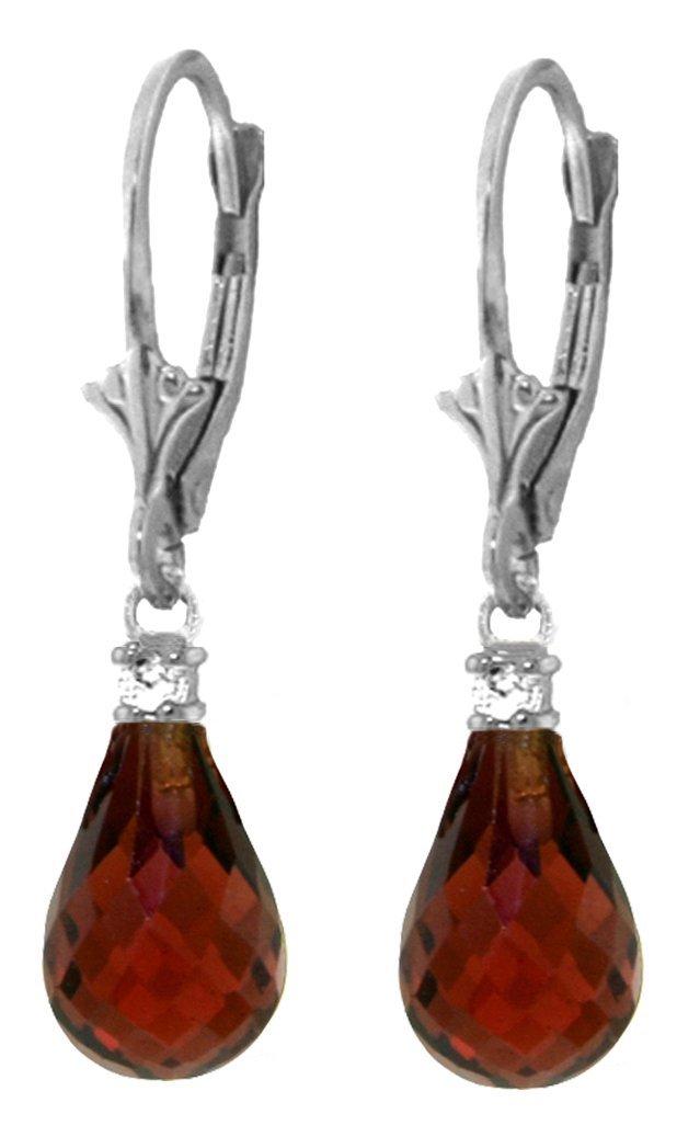 Genuine 4.6 ctw Garnet & Diamond Earrings Jewelry 14KT