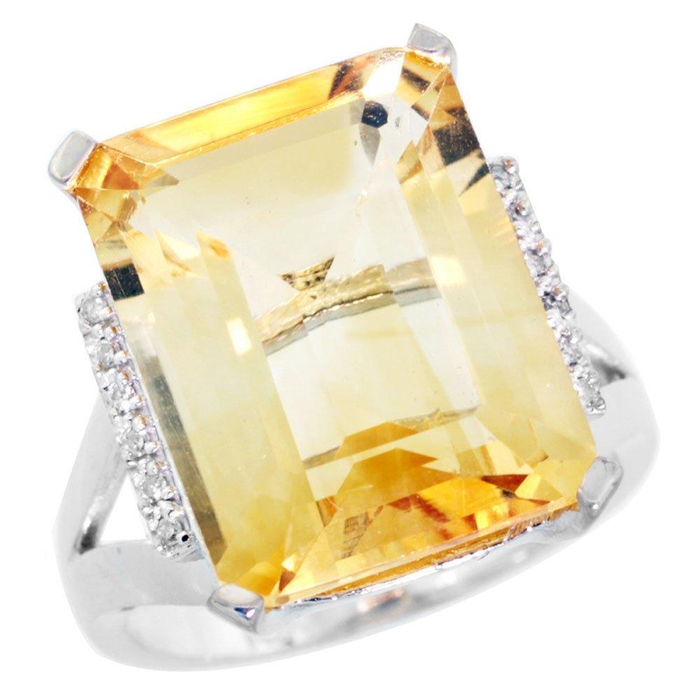 Natural 12.13 ctw Citrine & Diamond Engagement Ring 14K