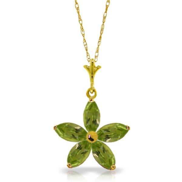 Genuine 1.40 ctw Peridot Necklace Jewelry 14KT Yellow
