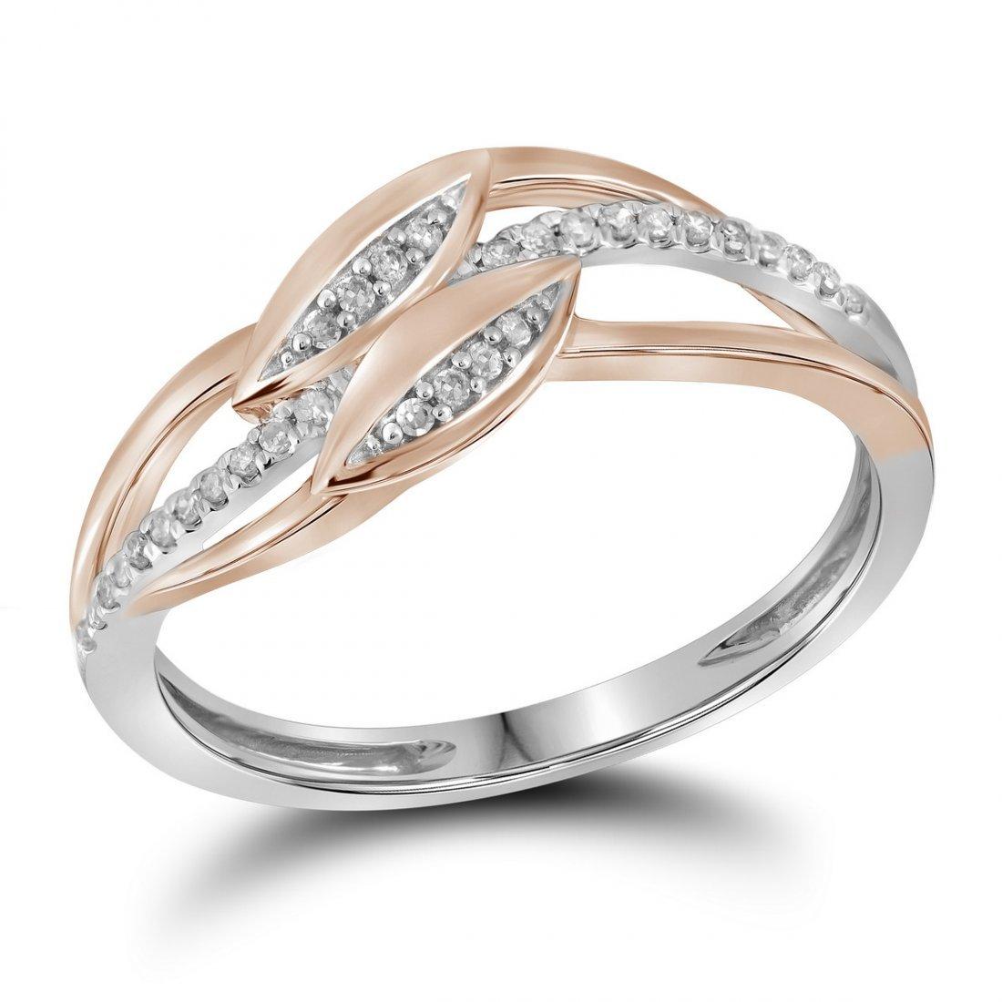 Genuine 0.10 CTW Diamond Ladies Ring 10KT Two-tone Gold