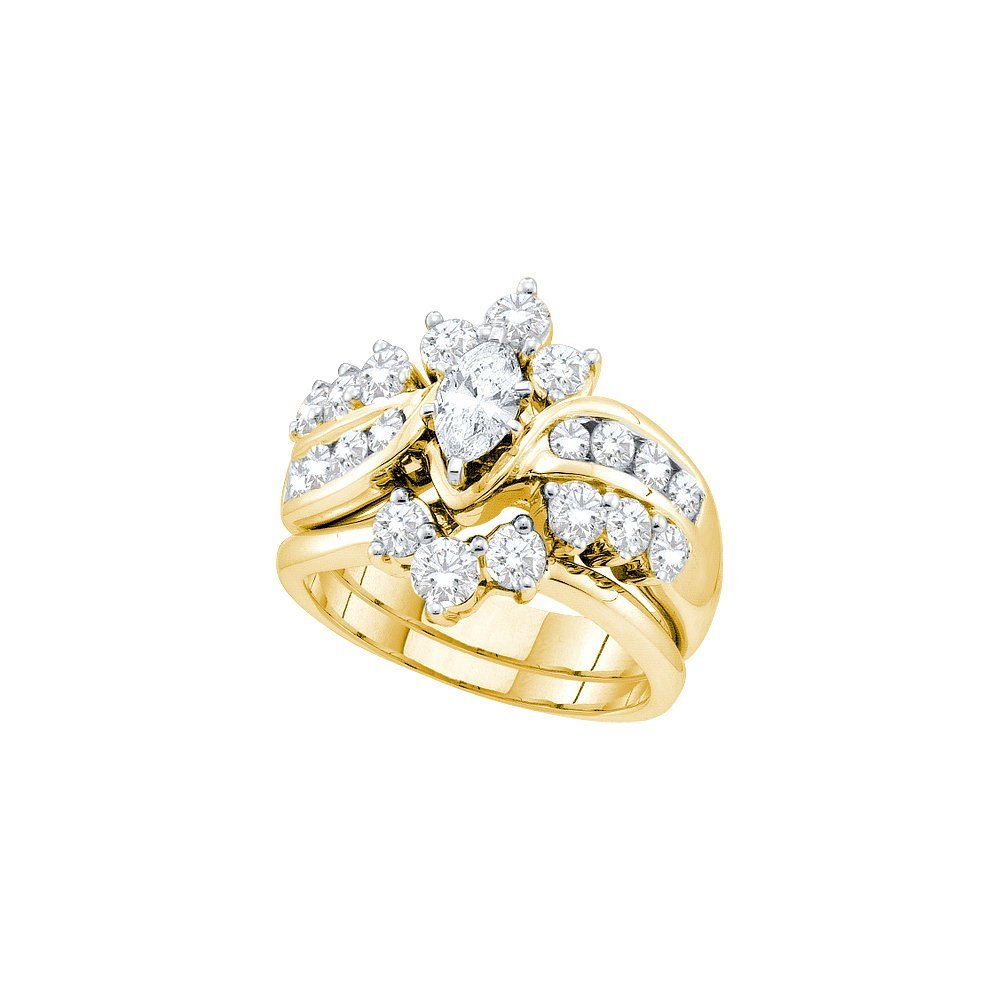 Genuine 2.37 CTW Diamond Bridal Set Ring 14KT Yellow