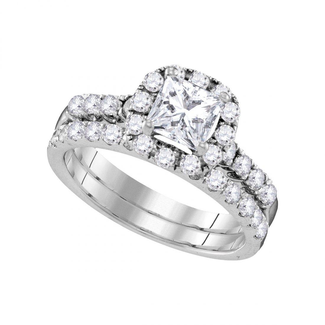 Natural 1.85 ctw Diamond Bridal Ring 14K White Gold -