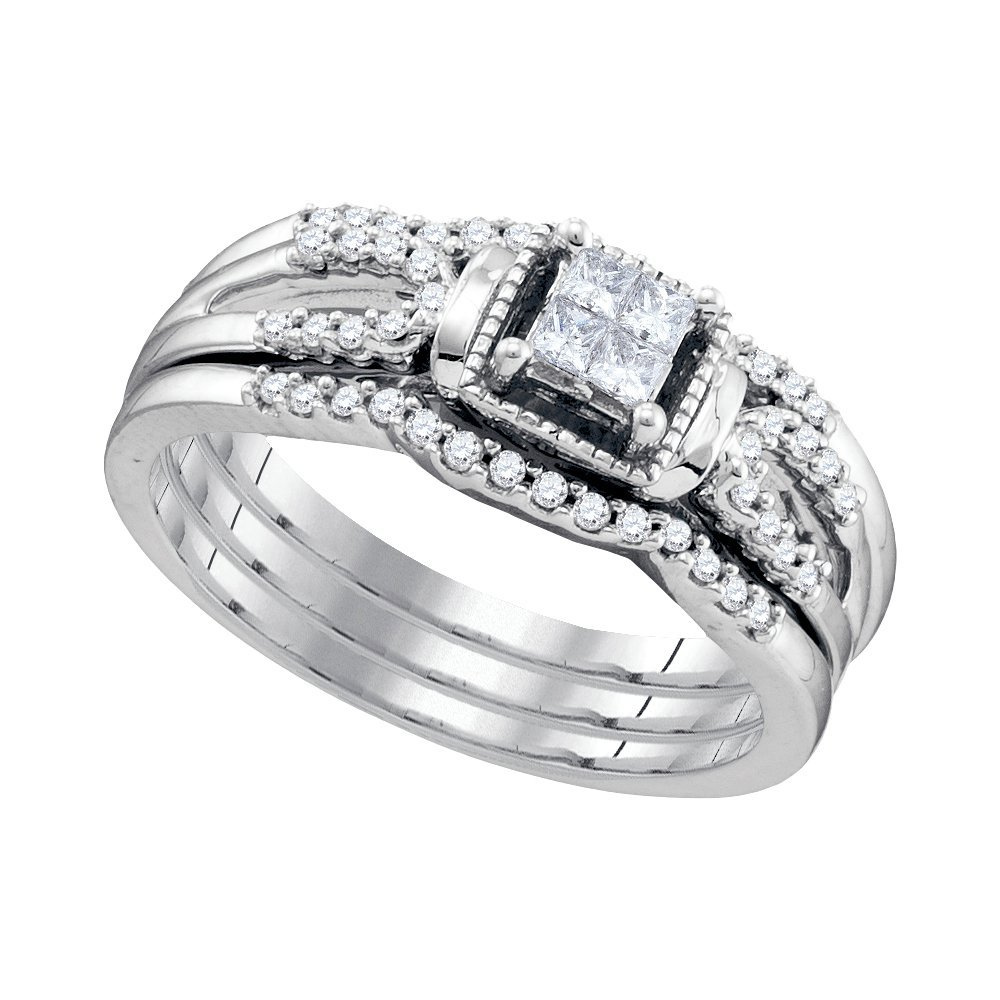 Natural 0.25 ctw Diamond Bridal Set Ring 10K White Gold
