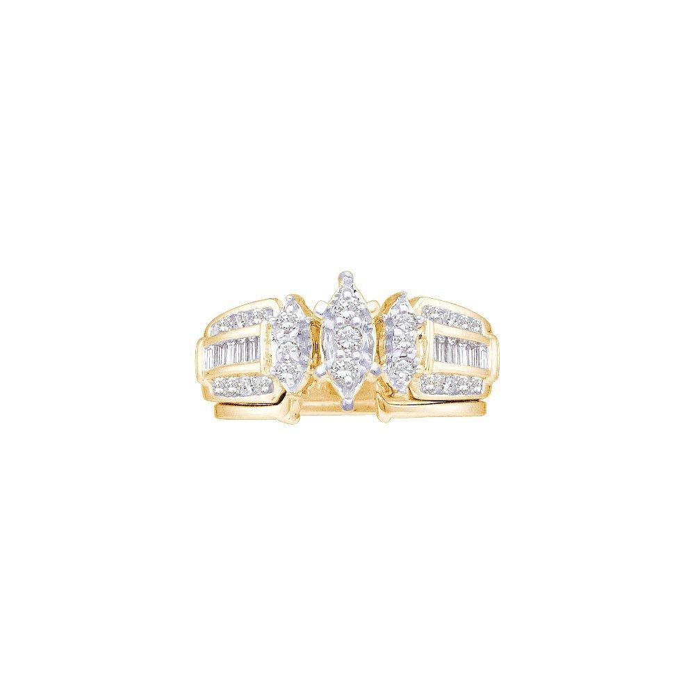 Natural 0.38 ctw Diamond Bridal Set Ring 10K Yellow