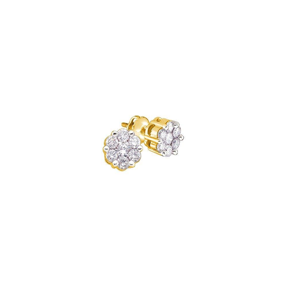 Genuine 1 CTW Diamond Earrings 14KT Yellow Gold -