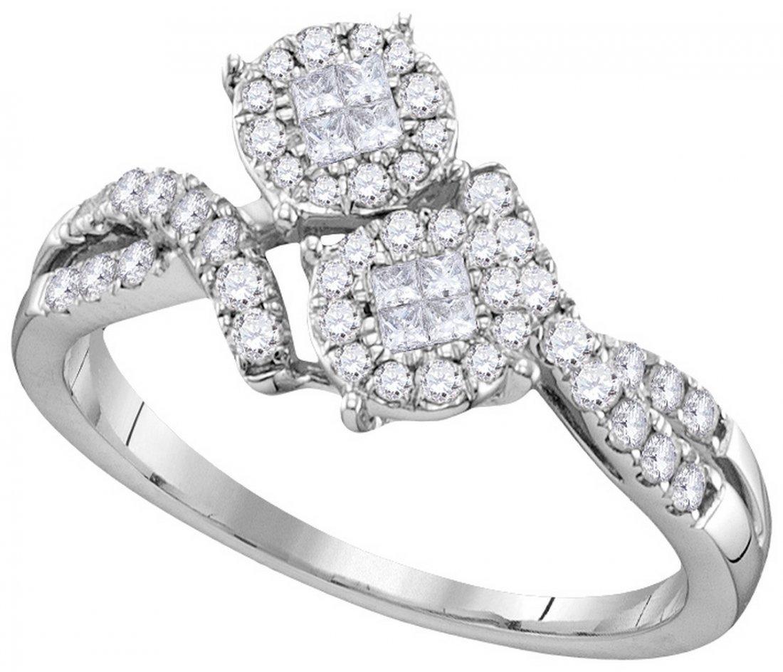 Genuine 0.50 CTW Diamond Soliel Bridal Ring 14KT White