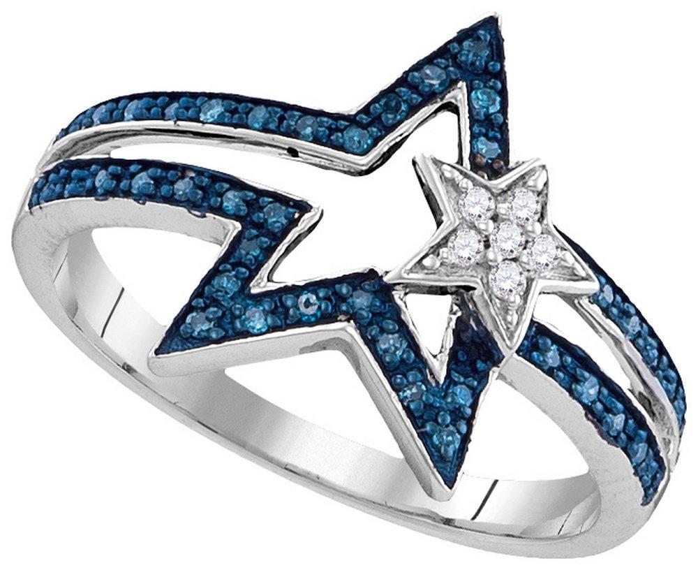Genuine 0.15 CTW White & Blue Diamond Ladies Ring White