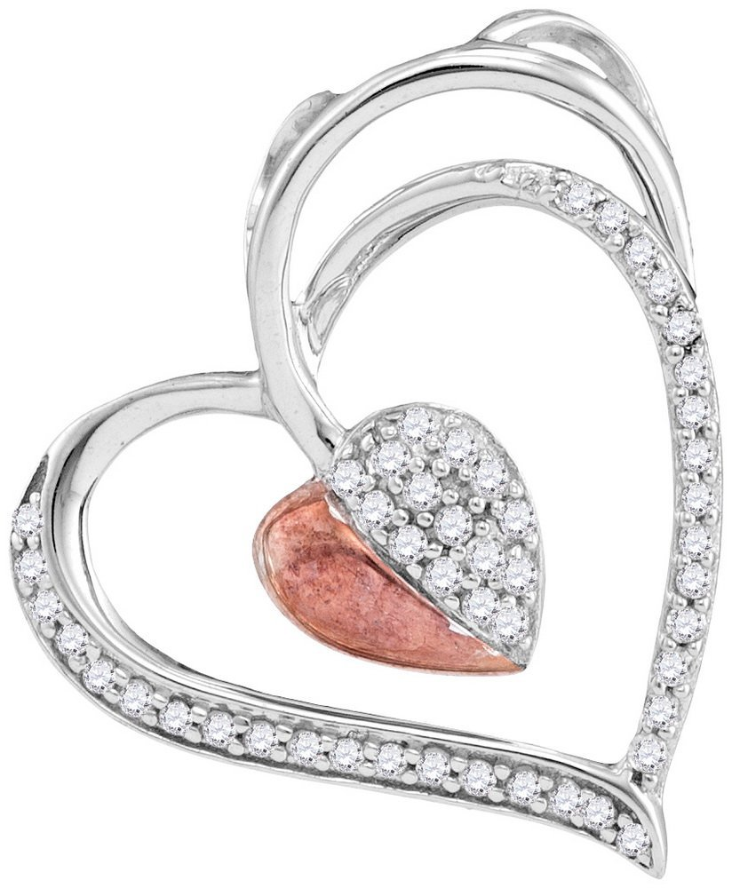 Genuine 0.15 CTW Diamond Pendant 10KT Two-tone Gold -