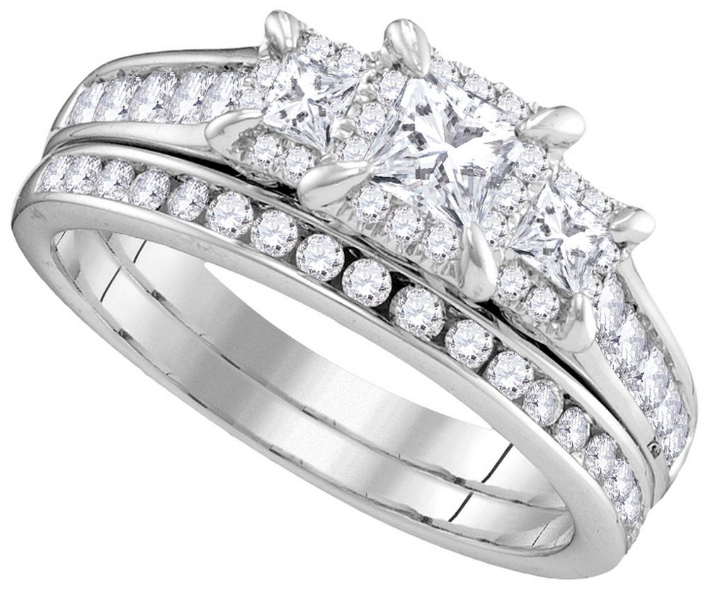 Genuine 1.21 CTW Diamond Bridal Set Ring 14KT White