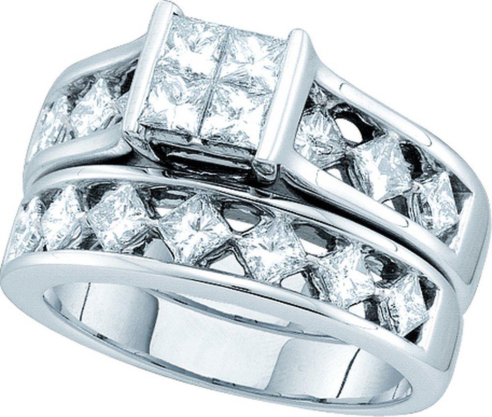 Natural 3.0 ctw Diamond Bridal Set Ring 14K White Gold