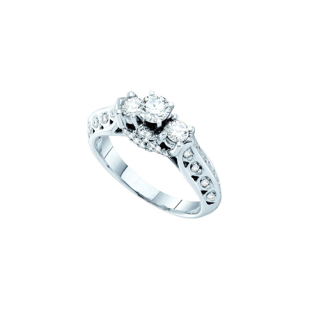 Natural 0.75 ctw Diamond Bridal Ring 14K White Gold -